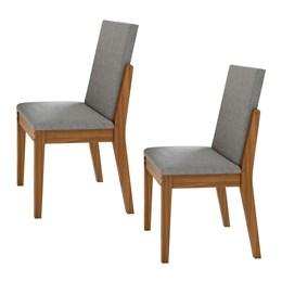 Conjunto 2 Cadeiras Lira Rovere Naturale/Linho Gris