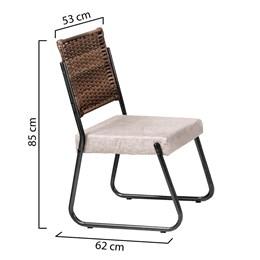 Conjunto 2 Cadeiras Md12 Grafite Soft One com Tecido LCA