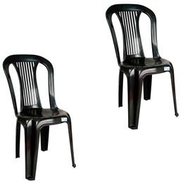 Conjunto de 2 Cadeiras Plásticas Bistrô Preta - Antares