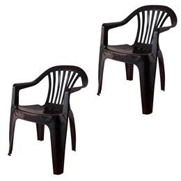 Conjunto de 2 Cadeiras Plásticas Poltrona preta - Antares
