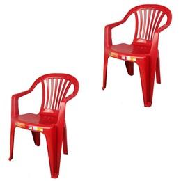Conjunto de 2 Cadeiras Plásticas Poltrona Vinho - Antares