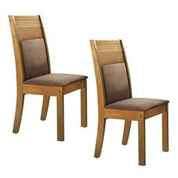 Conjunto de 2 cadeiras Ravena Ypê/Suede Animale Marrom - Cel Móveis
