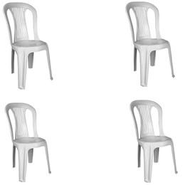 Conjunto de 4 Cadeiras Plásticas Bistrô branca - Antares