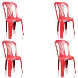 Conjunto de 4 Cadeiras Plásticas Bistrô Vinho - Antares