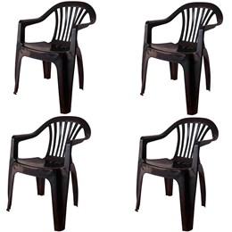 Conjunto de 4 Cadeiras Plásticas Poltrona preta - Antares