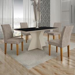 Conjunto de Mesa de Jantar Creta 4 Cadeiras POWIPC