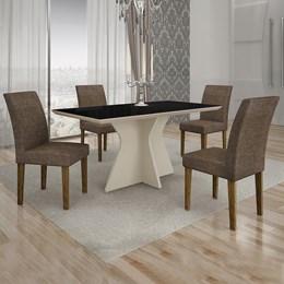 Conjunto de Mesa de Jantar Creta 4 Cadeiras POWYLM
