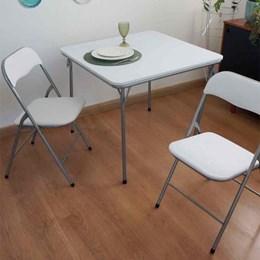 Conjunto de mesa e 02 cadiras dobrável caxambu branco - Antares