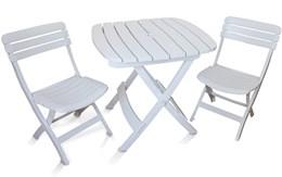 Conjunto de Mesa e 2 Cadeiras Plásticas Dobrável Branca - Antares