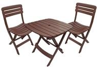 Conjunto de Mesa e 2 Cadeiras Plásticas Dobrável Marrom - Antares