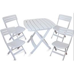 Conjunto de Mesa e 4 Cadeiras Plásticas Dobrável Branca - Antares