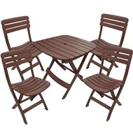 Conjunto de Mesa e 4 Cadeiras Plásticas Dobrável Marrom - Antares