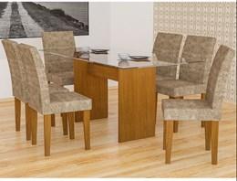 Conjunto de Mesa Grecia Imbuia 160 com 6 Cadeiras Grecia Imbuia Amassado Chocolate - Rufato