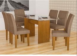 Conjunto de Mesa Grecia Imbuia 160 com 6 Cadeiras Grecia Imbuia Animalle Chocolate - Rufato