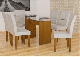 Conjunto de Mesa Grecia Imbuia 160 com 6 Cadeiras Grecia Imbuia Veludo Creme - Rufato