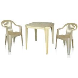 Conjunto de Mesa Monobloco e 2 cadeiras poltrona Bege - Antares
