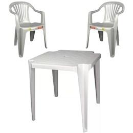 Conjunto de Mesa Monobloco e 2 cadeiras poltrona Branca - Antares