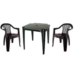 Conjunto de Mesa Monobloco e 2 cadeiras poltrona Preto - Antares