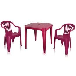 Conjunto de Mesa Monobloco e 2 cadeiras poltrona Vinho - Antares