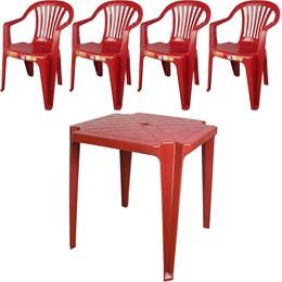 Conjunto de Mesa Monobloco e 4 cadeiras poltrona Vinho - Antares
