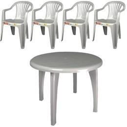Conjunto de Mesa redonda e 4 cadeiras poltrona Branca - Antares