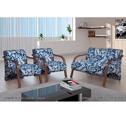 Conjunto de Poltronas Decorativas Adele Azul com Braço em Madeira