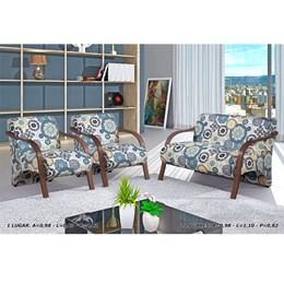 Conjunto de Poltronas Decorativas Adele Branco com Braço em Madeira