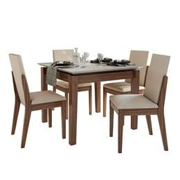 Conjunto Mesa 4 Cadeiras Áries Imbuia Naturale/Linho Rinzai Bege Tampo e Vidro Off White Lopas