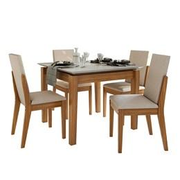 Conjunto Mesa 4 Cadeiras Áries Rovere Naturale/Linho Rinzai Bege Tampo e Vidro Off White Lopas