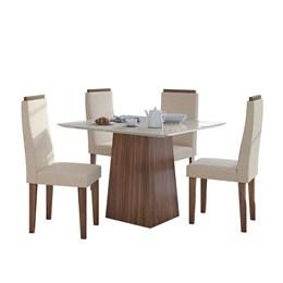 Conjunto Mesa 4 Cadeiras Nevada Plus Imbúia Naturale/Linho Rinzai Bege Tampo e Vidro Off White Lopas
