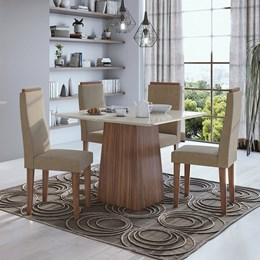 Conjunto Mesa 4 Cadeiras Nevada Plus Imbúia Naturale/Suede Animale Tampo e Vidro Off White Lopas