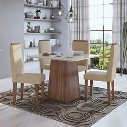 Conjunto Mesa 4 Cadeiras Nevada Plus Imbúia Naturale/Veludo Naturale Tampo e Vidro Off White Lopas