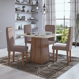 Conjunto Mesa 4 Cadeiras Nevada Plus Imbúia Naturale/Velvet Rosê Tampo e Vidro Off White Lopas