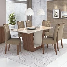 Conjunto Mesa 6 Cadeiras Apogeu Plus Imbúia Naturale/Suede Animale Bege Tampo e Vidro Off White Lopas
