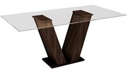 Conjunto Mesa Classic  160x80 cm c/ 6 Cadeiras Classic vidro 08mm - Cel Móveis