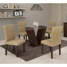Conjunto Mesa de jantar com 4 Cadeiras Classic Cappuccino - Cel Móveis