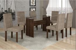 Conjunto Mesa de Jantar Ravena Plus C/ 6 Cadeiras Animale Bege 47 Cel Móveis