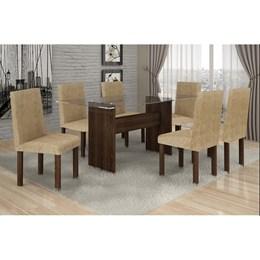 Conjunto Mesa de Jantar Ravena Plus com 6 Cadeiras Capuccino 46 Cel Móveis