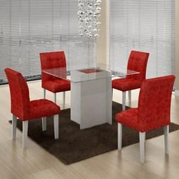 Conjunto Mesa de jantar Versales com 4 Cadeiras Branco/Vermelho - Cel Móveis