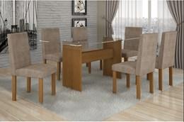 Conjunto Mesa Jantar Ravena Plus 6 Cadeiras Nogueira/bege 47 Cel Móveis