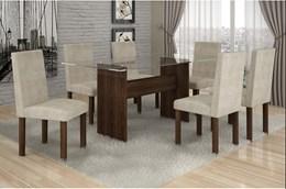 Conjunto Mesa Jantar Ravena Plus C/ 6 Cadeiras Animale  Cru 51 Cel Móveis