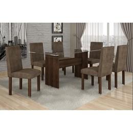 Conjunto Mesa Jantar Ravena Plus C/ 6 Cadeiras  Animale Marron 52 Cel Móveis