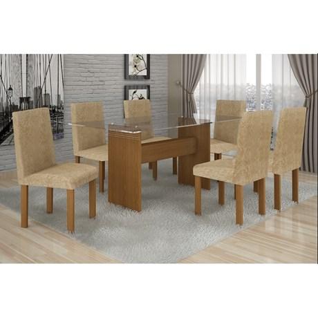 Conjunto Mesa Jantar Ravena Plus C/ 6 Cadeiras Nogueira/capuccino Cel Móveis