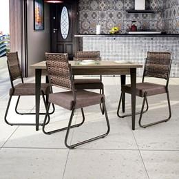 Conjunto Mesa Madeira 140X90 4 Cadeiras Md12 AGLMS