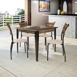 Conjunto Mesa Madeira 90X90 Com 4 Cadeiras Md05 CGLCM