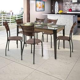 Conjunto Mesa Vidro 140X90 Com 6 Cadeiras Md05 AGLMS