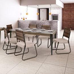 Conjunto Mesa Vidro 180X90 6 Cadeiras Md12 AGLCS