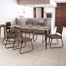 Conjunto Mesa Vidro 180X90 6 Cadeiras Md12 AGLMS