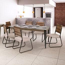 Conjunto Mesa Vidro 180X90 6 Cadeiras Md12 CGLCS