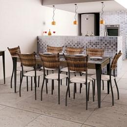 Conjunto Mesa Vidro 180X90 Com 8 Cadeiras Md05 CGLCS